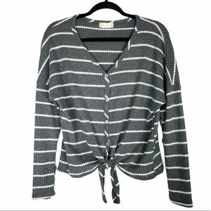 Altar'd State gray stripe tie front sweater top